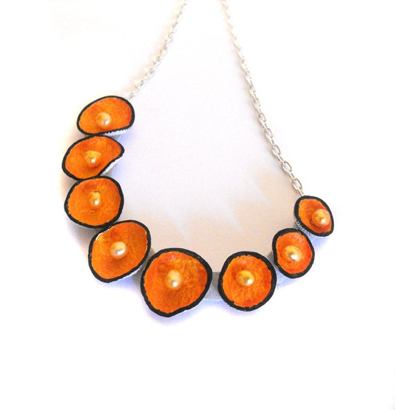 Pod leather necklace in bright orange color by julishland on Etsy, $21.00