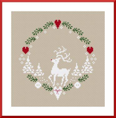 christmas xmas winter reindeer heart wreath free cross stitch pattern, thanks so for sharing this xox  ☆ ★  https://www.pinterest.com/peacefuldoves/