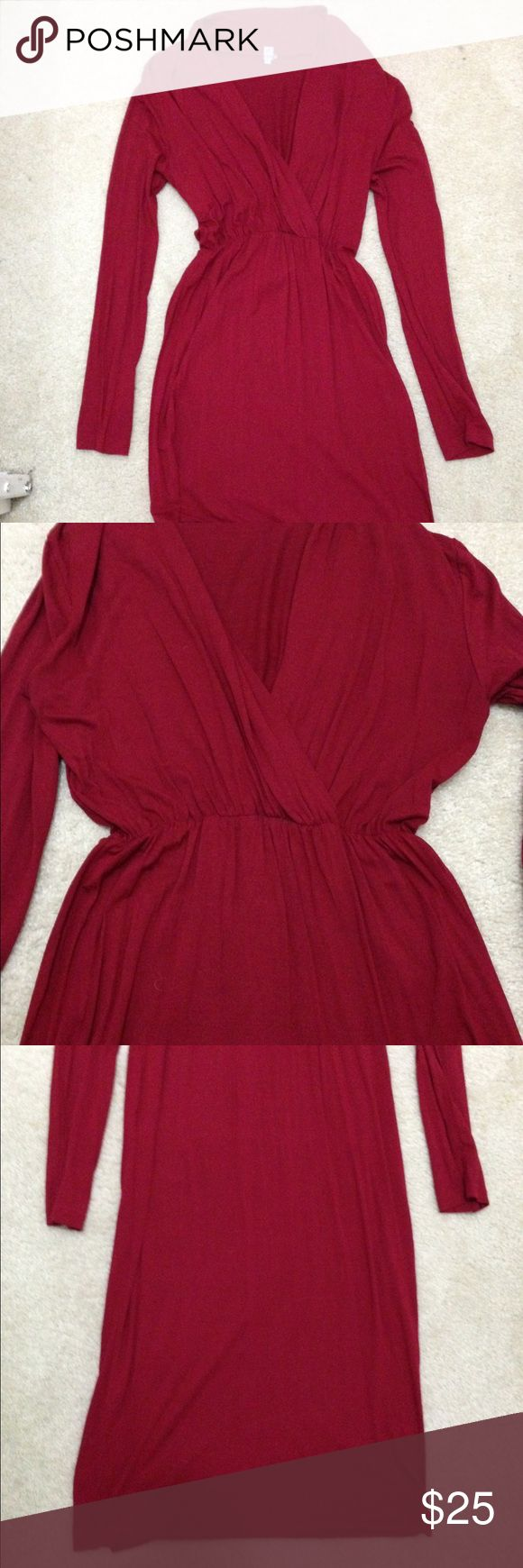 Midi wrap dress cotton oxblood New without tags. Very nice fit and color. I'm selling simply because I have too many dresses. Fits S-M. Dresses Midi