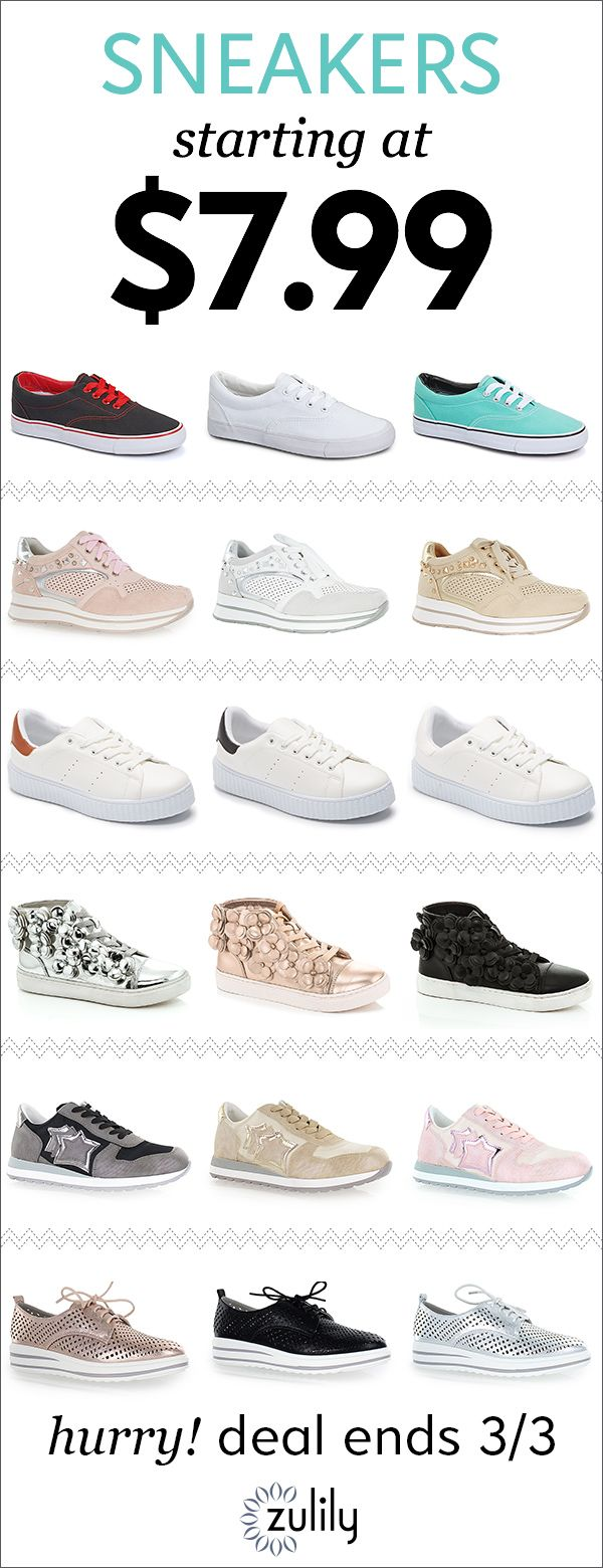 Sign up to shop street-chic sneakers starting at $7.99. Stroll the sidewalk with an extra swagger to your step in street-savvy sneakers. Don't wait! This sale ends 3/3.