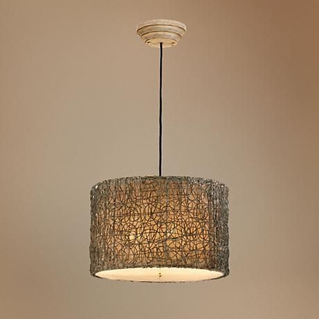 Naturals Knotted Rattan Pendant Chandelier.  Dining room?