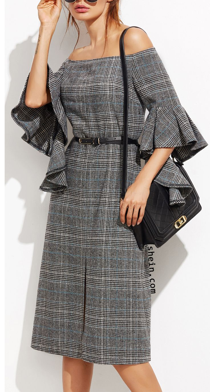 Grey paid off the shoulder ruffle sleeve dress