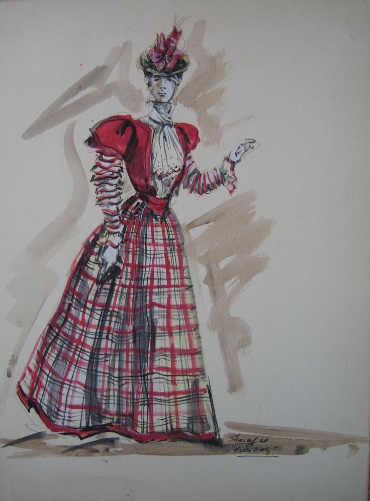 """Marianne McAndrew (Original Costume Sketch), """"Hello Dolly,"""" 20th Century Fox, 1969, Designed by Irene Sharaff, The Collection of Motion Picture Costume Design: Larry McQueen"""