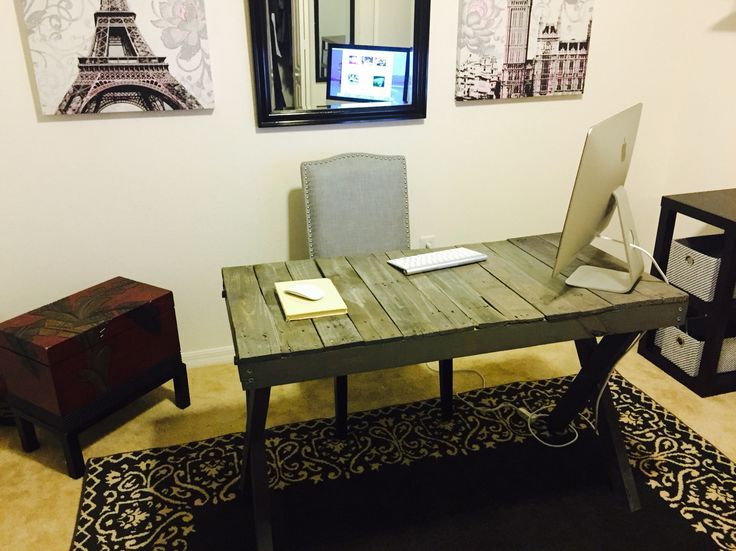 Desk made from pallets, handmade and crafted by me. 3 pallets total