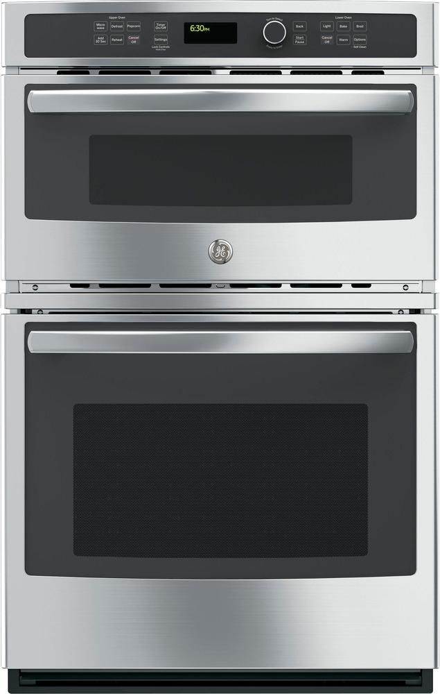 """GE - 27"""" Single Electric Wall Oven with Built-In Microwave - Stainless-Steel"""