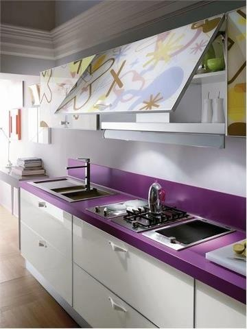 Floral design top cupboards purple kitchen bench, white cupboards