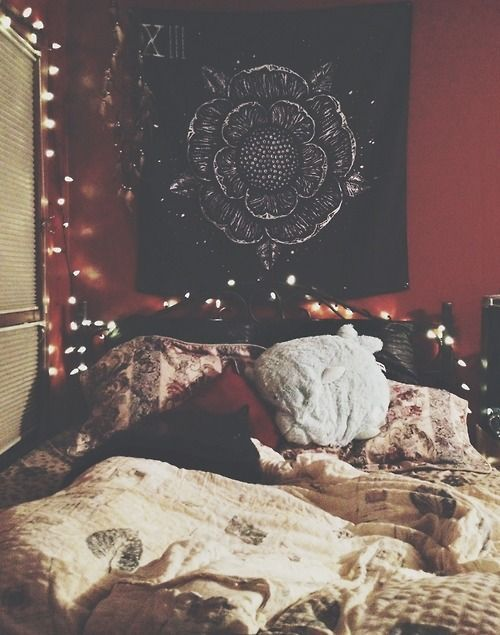 black bed frame & cool wall decor
