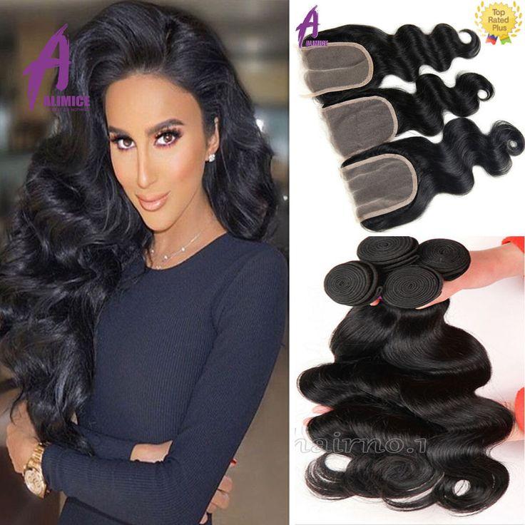 3 Bundles Body Wave with Lace closure Brazilian Hair Human Hair Weave US STOCK  #Alimice #WaveBundle