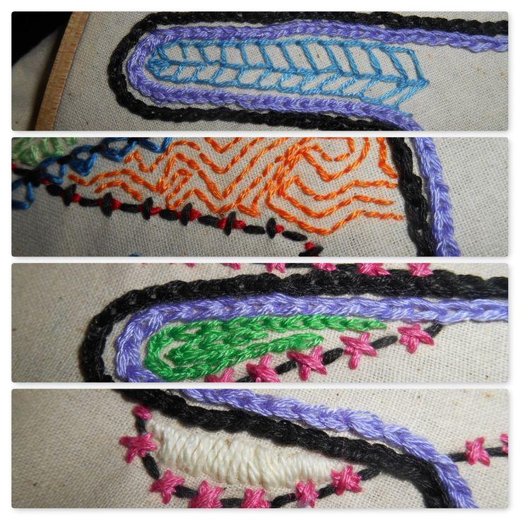Sunday Share week 5    blue buttonhole stitch orange back stitch green chain white satin stitch