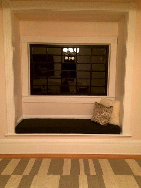 customer photo custom window seat cushion in sunbrella spectrum carbon