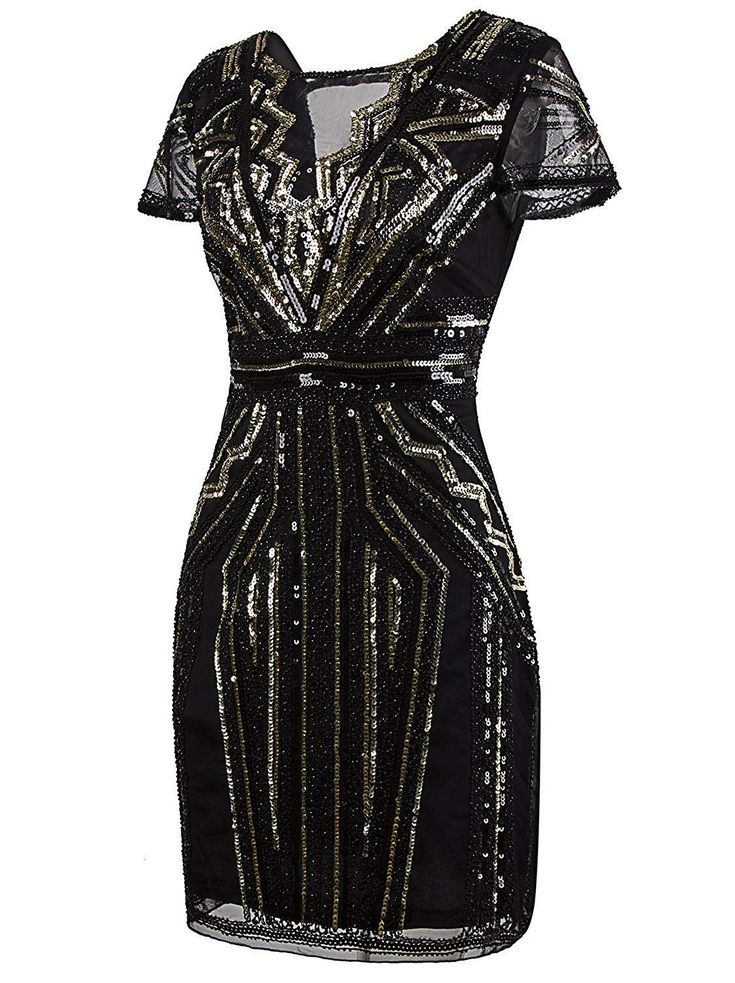 1920er Jahre kurze Prom Kleider V-Ausschnitt inspiriert Pailletten Cocktail Flapper Kleid – X-Small Pure Black