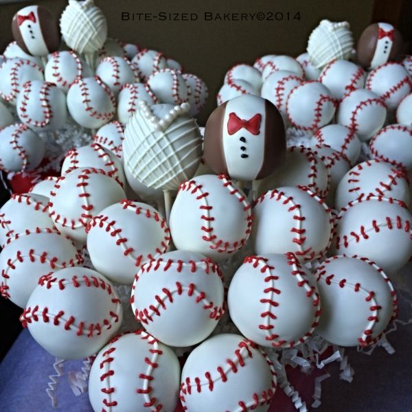 sports themed wedding cake pops