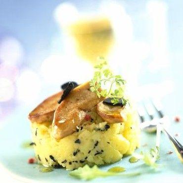 Parmentier truffé au foie gras (pommes de terre, beurre, lait, truffe, foie gras cru, farine, cerfeuil, fleur de sel/poivre blanc)