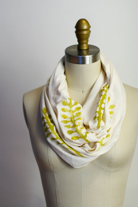 Mod Leaf Circle Scarf  Organic Bamboo Cotton  Off by shoprarebird, $36.00
