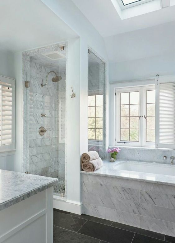 bath shower with supports and open window to bath. marble facing (could change to tile for added detail)
