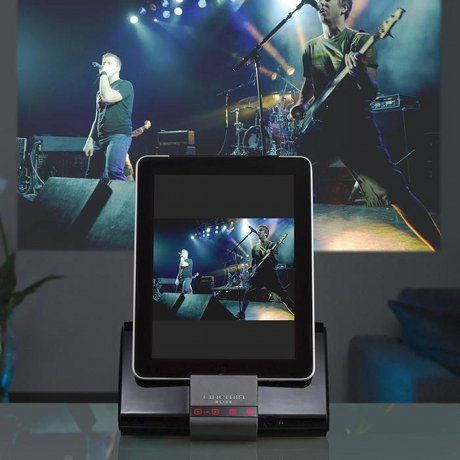 Ipad projector has stereo speakers and and cast images up for Pico projector ipad