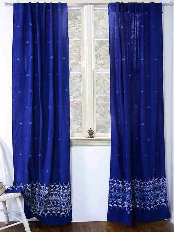 Indigo Curtains Sample Sale Window Curtain Indigo Blue Bedroom