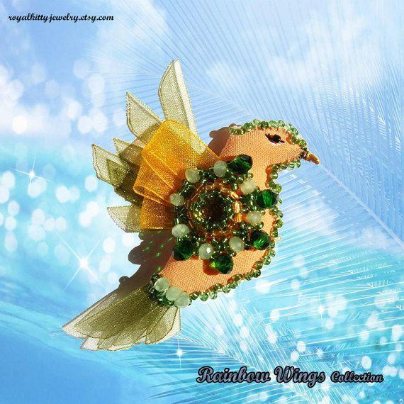 Orange bird brooch green bird brooch by RoyalKittyJewelry on Etsy