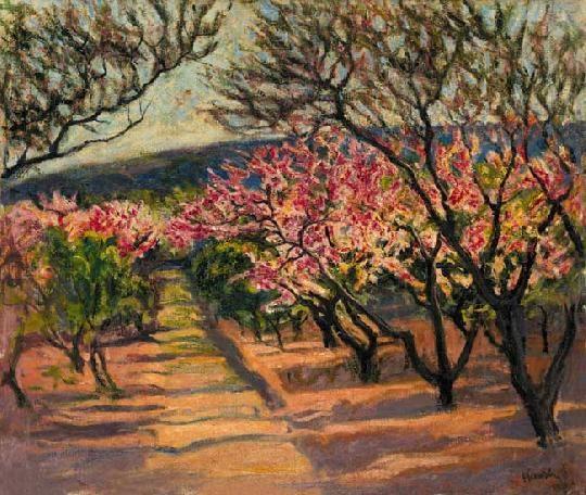 Kernstok Károly (1873-1940) Tavaszi virágzás Olaj, vászon, 75x88 cm