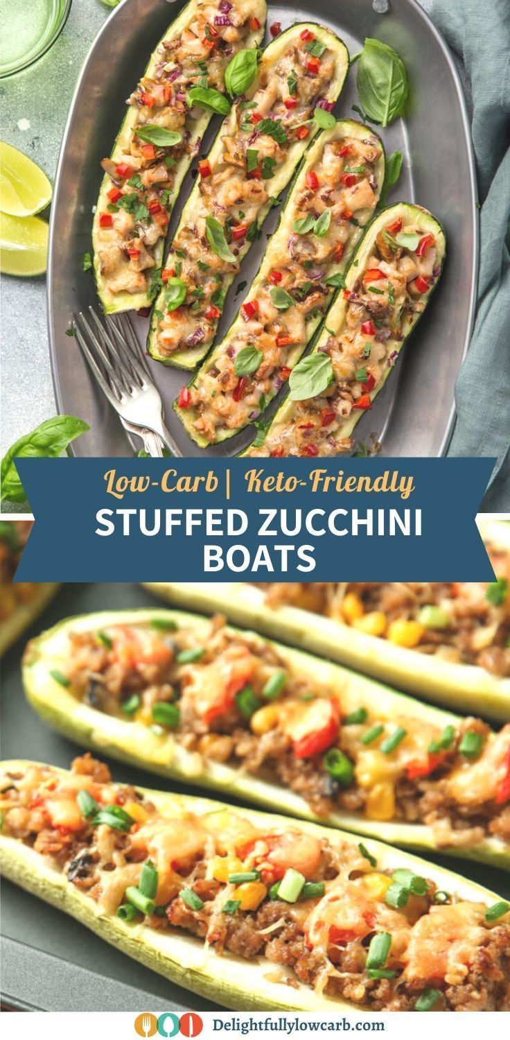 These Fresh Zucchini Boats Are Filled With Seasoned Ground Beef Red Bell Pepper Onion Mushroom And In 2020 Vegetable Side Dishes Recipes Dinner Recipes Beef Recipes