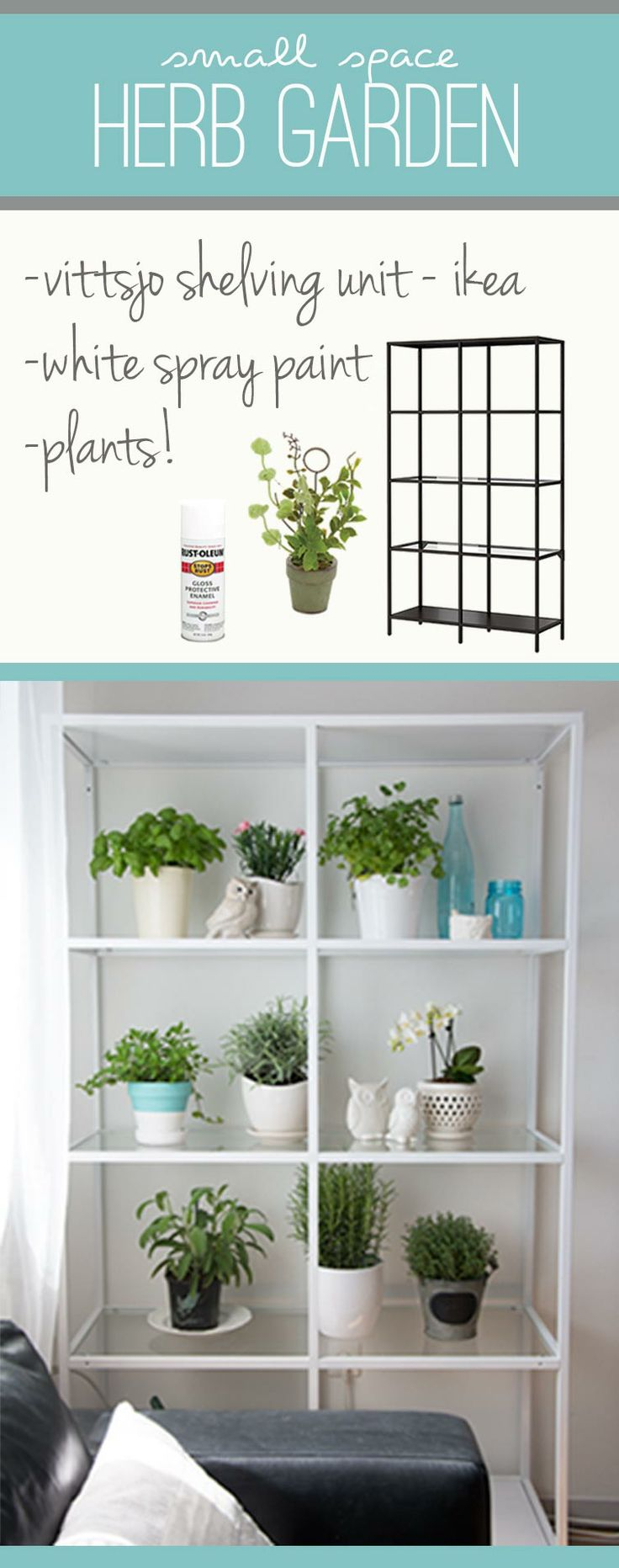 Do you have an indoor or outdoor herb garden? Take a look at thecozycreative.com's makeover to their VITTSJÖ shelving unit, perfect for displaying their carefully selected potted herbs: http://bit.ly/1iFdzir