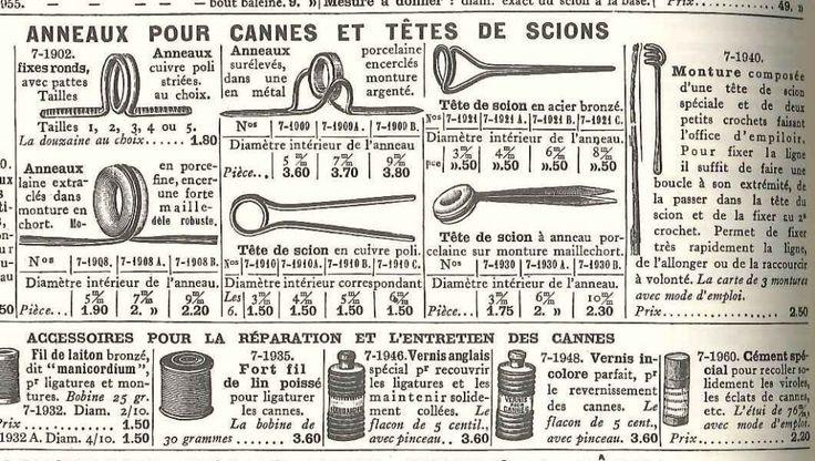 Catalogue Manufrance 1928: anneau et accessoires de réparation de cannes