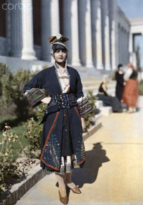Vintage fashion style ethnic street found photos 10s 20s suit outfit dress The First Color Photographs of Greece, 1913