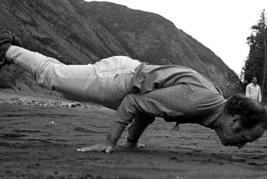 (Justin's father) Former Canadian Prime Minister Pierre Trudeau in similar yoga pose during a break from a boat trip down the Yukon's Nahanni River in 1970.
