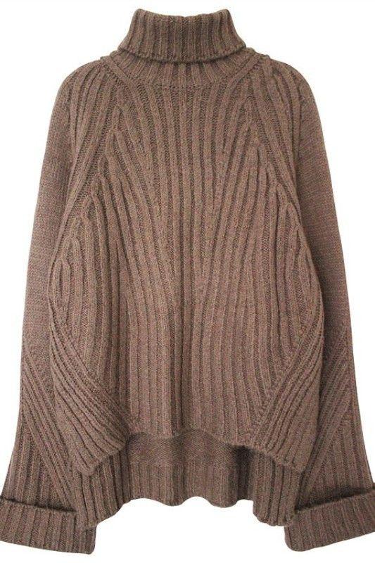 High Low Oversized Turtleneck Sweater #genuine-people #sweater