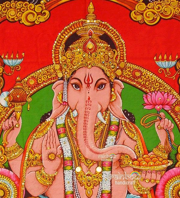 Hanging Tapestry - Indian elephant head hindu religious god by rainbowhandicraft