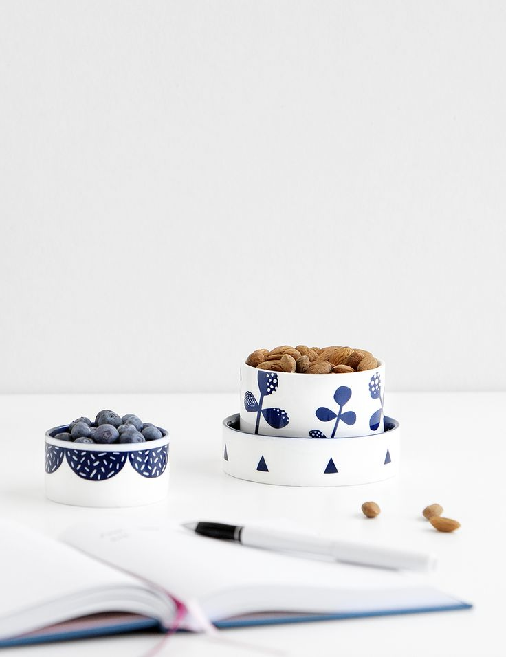 Healthy snack idea - use our printed bowls to store almonds and fruit on your desk