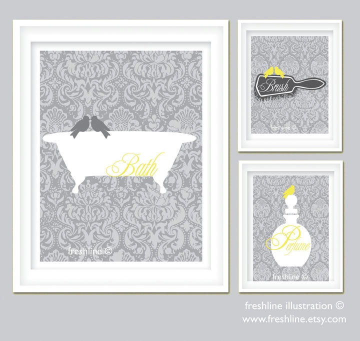 Bathroom Art Grey: Yellow And Gray Bathroom Art Set