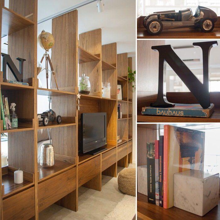 Monoambiente - Living - Biblioteca - Mueble TV