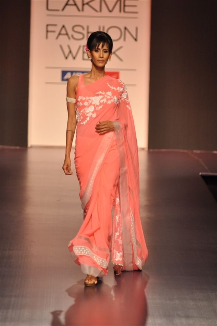 salmon pink sari | Manish Malhotra Lakme Fashion Week Spring 2013