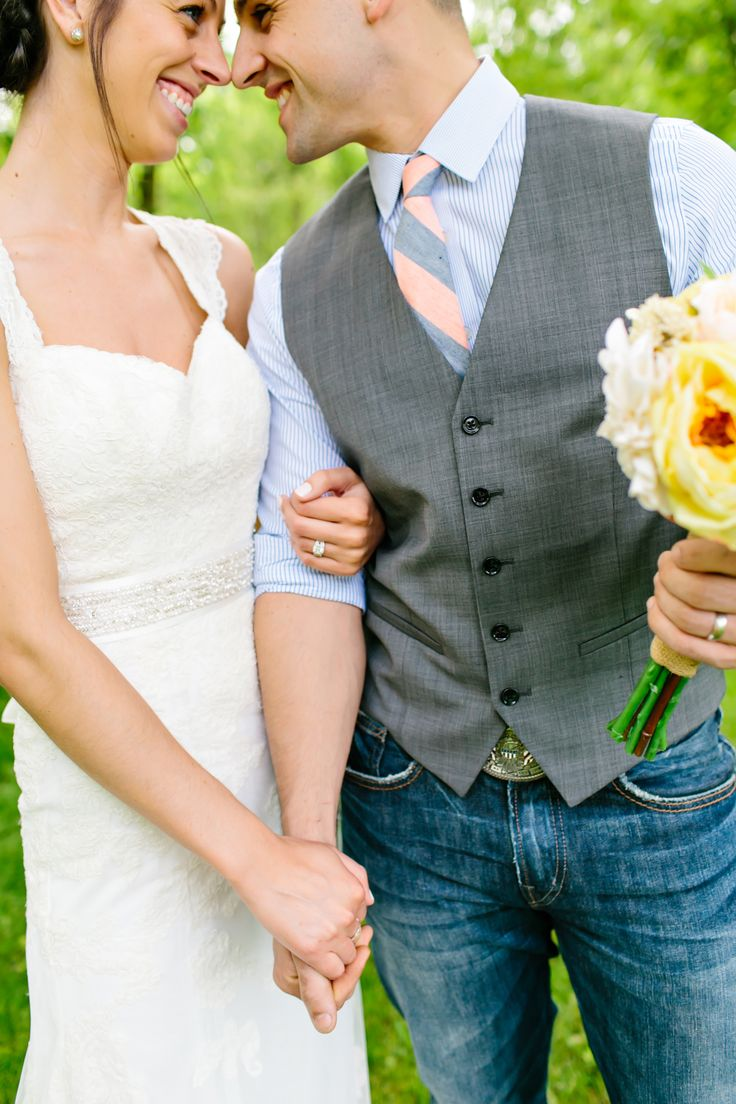 lace dress, groom in jeans and vest Kelly Braman Photography