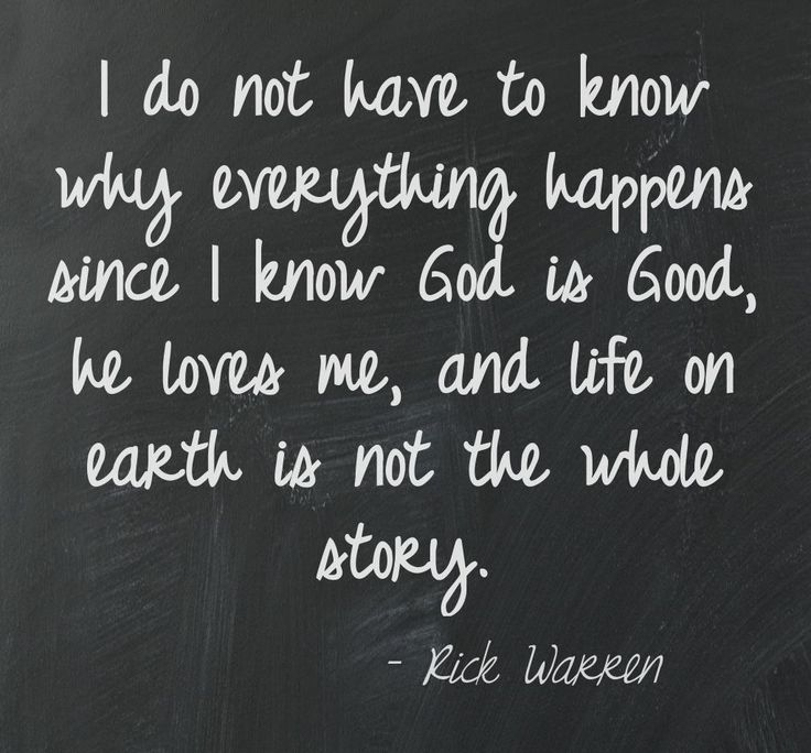 I do not have to know why everything happens since I know God is good, he loves me, and life on earth is not the whole story.  -Rick Warren