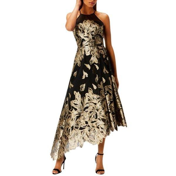 Coast Gold Leaf Jacquard Dress ($235) ❤ liked on Polyvore featuring dresses, halter maxi dress, gold maxi dress, sleeve maxi dress, flared skirts and flare sleeve dress