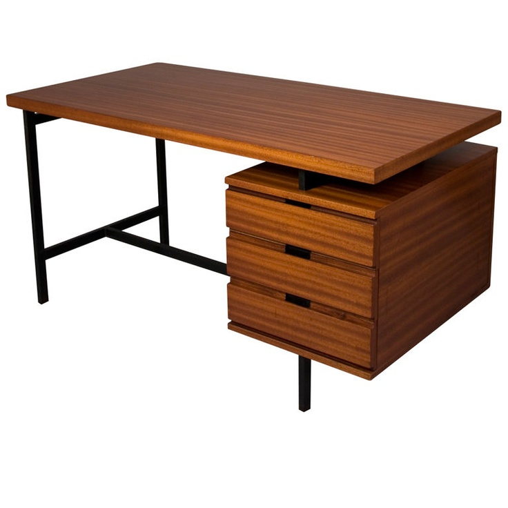 Acajou Three Drawer Desk by Pierre Guariche for Minvielle  France, early 1960s