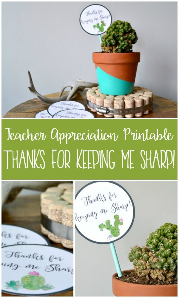 Teacher Appreciation Printable: Thanks for Keeping Me Sharp!