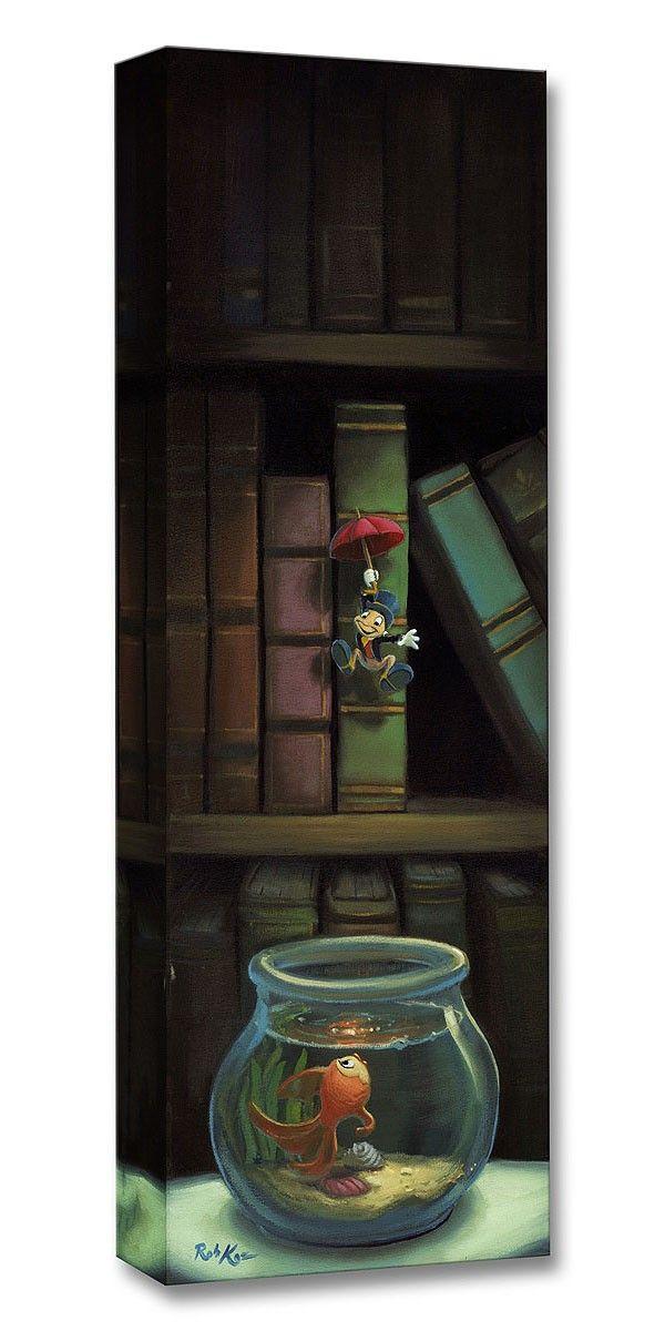 Pinocchio - Dropping In - Jiminy Cricket - Gallery Wrapped - Rob Kaz - World-Wide-Art.com - #disneyfineart #robkaz #disneytreasuresoncanvas #gallerywrapped #pinocchio #jiminycricket