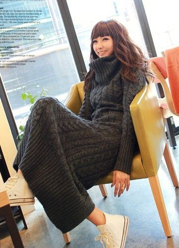 Chunky Knitted Dark Grey Long Knit Dress. Turtle Neck Sweater Dress