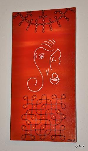 Ganesh painting with kolams on 8x16 canvas  (sold) © Bala Thiagarajan, 2012