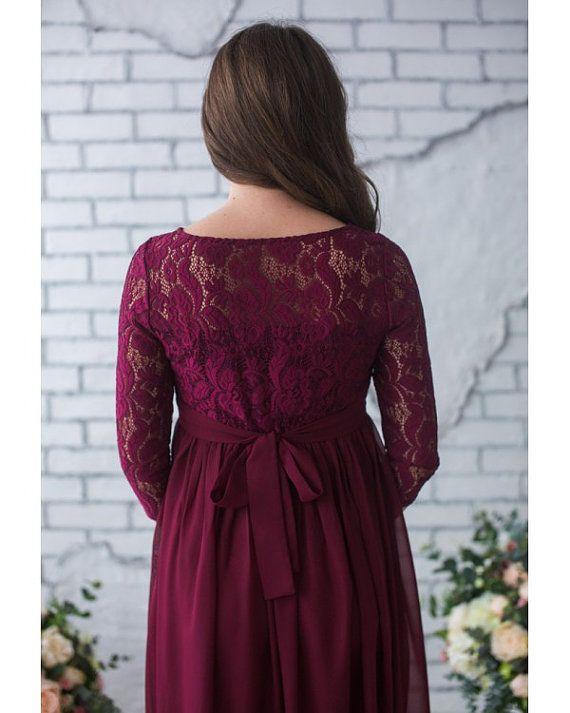 Burgundy Floor Length Dress Maternity.Lace Chiffon Formal | Etsy