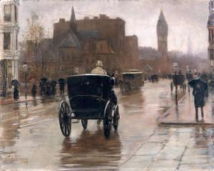 Columbus Avenue, Rainy Day, 1885  Childe Hassam
