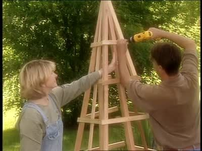 How to Build a Pyramid-Shaped Trellis Videos   Home & Garden How to's and ideas   Martha Stewart