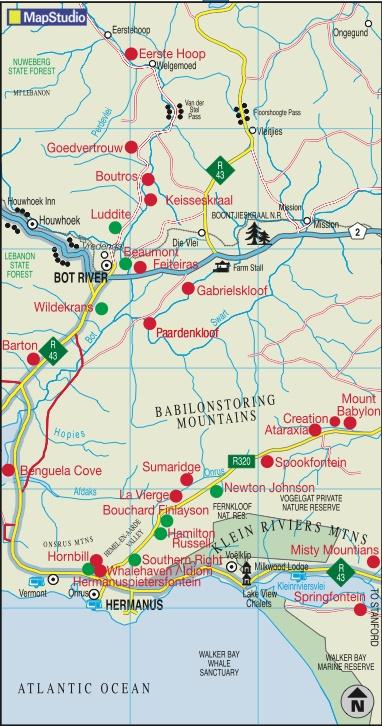 Hermanus wine route map- a 40 minute drive from La Clé des Montagnes - 4 luxurious villas on a working wine farm