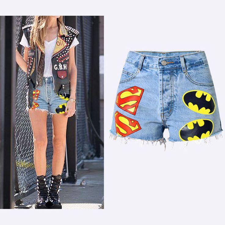 2017 New Fashion Women Short Jeans High Waist Denim Shorts Jeans Hip-hop Style Straight Painted Slim Ladies Denim Shorts Jeans #Affiliate