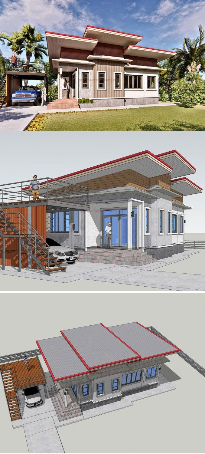 Modern Bungalow With Two Bedrooms And Detached Balcony And Carport Modern Bungalow Bungalow House Design 2 Bedroom House Design