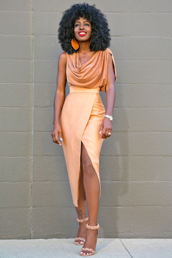 Gorgeous tan cowl neck blouse and midi wrap style long slit skirt.