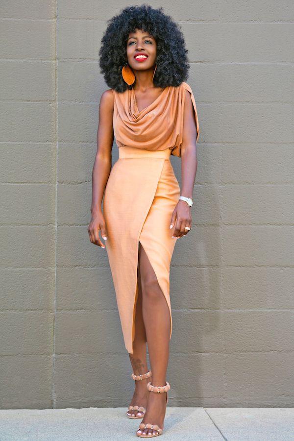 Gorgeous tan cowl neck blouse and midi wrap style long slit skirt.